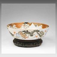 Edo Period Kanzan Style Japanese Center Bowl On Stand