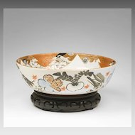 Edo Period Kanzan Style Japanese Center Bowl On Stand