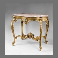 19th C. Hand Carved Giltwood French Rococo Center Table With Marble Top
