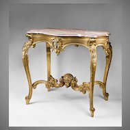 19th C. Hand Carved Giltwood Italian Rococo Center Table With Marble Top