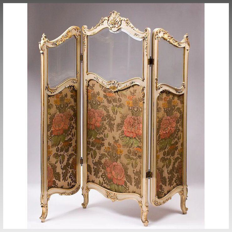 19th C French Rococo Style Three Panel Childs Size Dressing Screen
