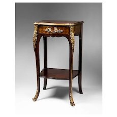 French Louis XV Style Marquetry Petite Pier Table
