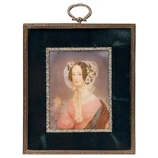 19th C. Miniature Watercolor Portrait of Woman in Flowered Bonnet