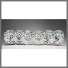 Set of 6 Meissen Blue Onion Reticulated Dessert Plates, Gilded