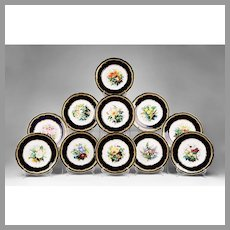 Set of 11 Hand Painted Floral W. T. Copeland Dessert Plates