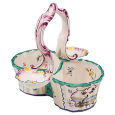 Vintage French Faience Hand Painted Cruet Set Holder Or Rack
