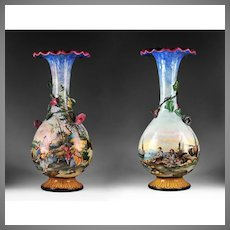 Pair of 19th C. Majolica Trumpet Vases Hand Painted by Giovanni Mollica