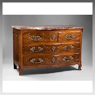 French 18th C. Louis XV Lyonnais Walnut Commode With Marble Top