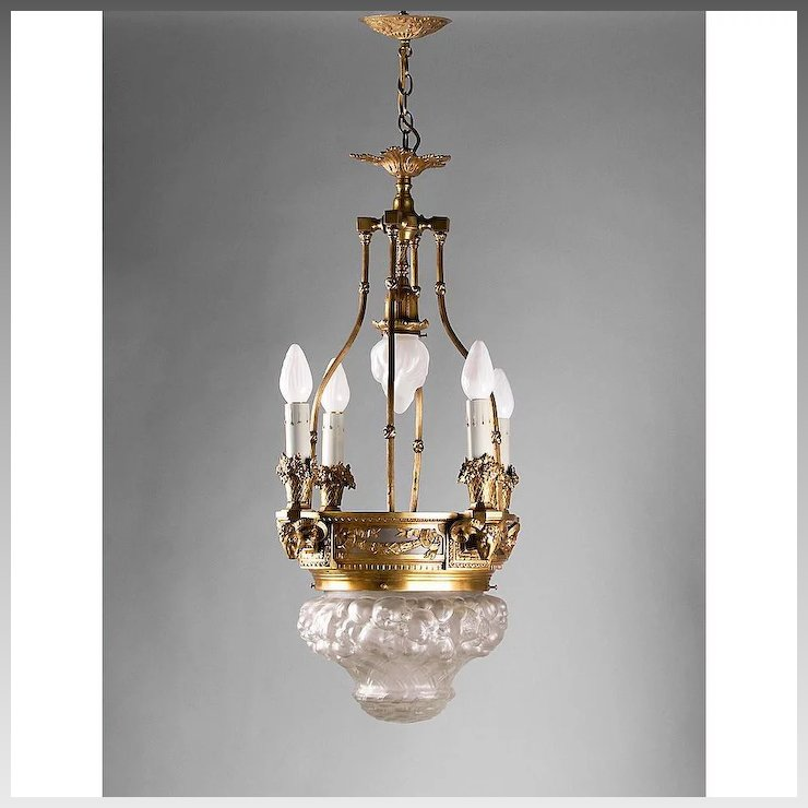 Bronze Lantern Chandelier With Relief Molded Opalescent Glass Dome - Bronze Lantern Chandelier With Relief Molded Opalescent Glass Dome