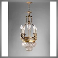 Bronze Lantern Chandelier With Relief Molded Opalescent Glass Dome