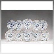 Set of 10 Blue Onion Dessert Plates