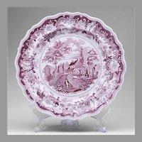 American Historical Staffordshire Purple Transferware Plate by Joseph Heath & Co., 1835