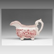 Early 19th Century Red Transferware Staffordshire Cream Pitcher