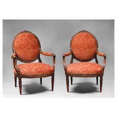 Pair of Louis XVI Hand Carved Fauteuils Or Armchairs