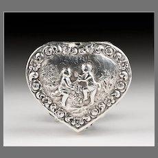 Late 19th C. German Embossed Silver Heart Shaped Trinket Box