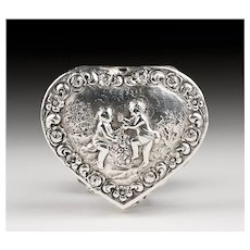 Late 19th C. German Embossed Silver Heart Shaped Trinket Box