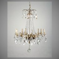 8 Light Tiered French Crystal Chandelier