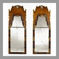 Rare Pair Of 18th C. Queen Anne Japanned 2-Part Mirrors