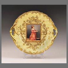 19th C. Saxon Porcelain Hand Painted Portrait Cake Plate