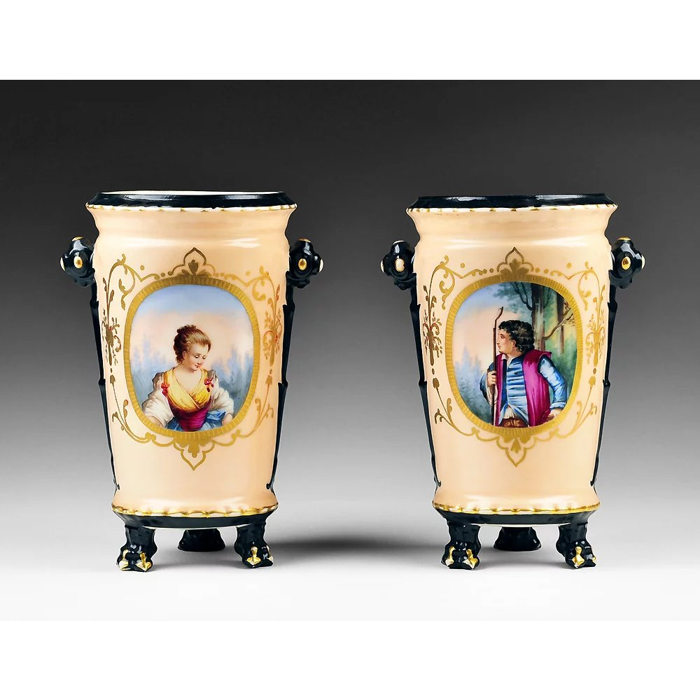 Paris Porcelain Hand Decorated Vase Fitted For Lamp Pia: 19th C. Pair Of Hand Painted Old Paris Vases : Pia's