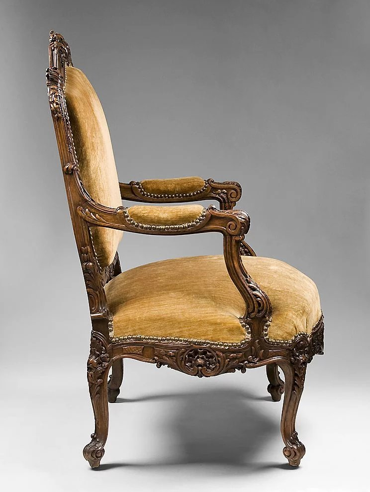 louis xv hand carved fauteuil or armchair sold ruby lane. Black Bedroom Furniture Sets. Home Design Ideas