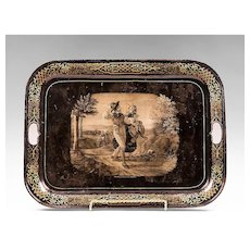 Mid 19th Century Tole Tray Grisaille Scene