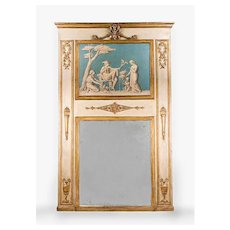 Neoclassical 18th C. Trumeau Mirror With Inset Phanolith en Verdaille Painting
