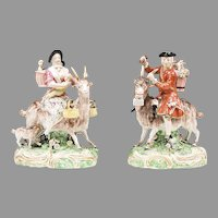 19th Century Pair of English Figurines, Bruhl's Tailor And His Wife