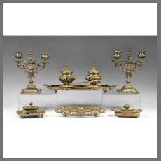 Early French 19th C. Bronze Desk Set, Inkstand With Candelabras, 7 Pieces