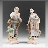 Bohemian C. Haas & Czjzek Bisque Hand Painted Figures