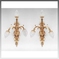 Early 20th C. Cast Bronze Dore French Three Light Sconces