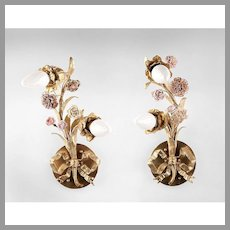 French 19th C. Bronze Floral Form Sconces With Porcelain Flowers