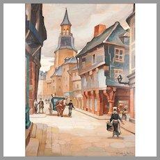 City Landscape Oil On Board Signed William E. Norton, 1899