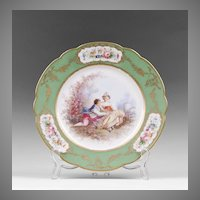 Late 19th C. Paris Porcelain Hand Painted Cabinet Plate, Ovington Brothers