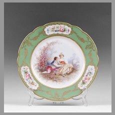 Late 19th C. Paris Porcelain Hand Painted Cabinet Plate, Ovington Brothers