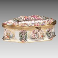 Capodimonte Bas Relief Jewelry Box or Casket