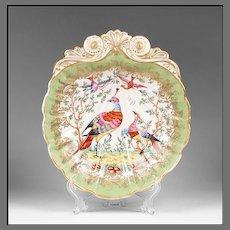 Chelsea Style Porcelain Shell Form Bowl, Pheasants