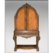 Charles II Satinwood China Cabinet On Carved Stand