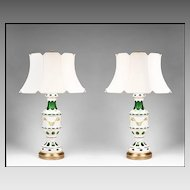 Pair of Early 20th C. Bohemian Glass Opaline Overlay Cut to Green Lamps With Enamel