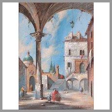Oil On Canvas of Architectural Capriccio After Francesco Guardi