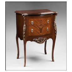 Louis XV Style Two Drawer Inlaid Side Table or Nightstand