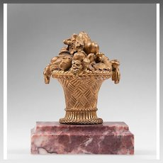 19th C. French Inkwell Bronze On Marble Stand
