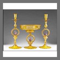 Italian Salviati Murano Glass Console or Garniture Set
