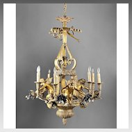 Early 20th C. French Ormolu 15 Light Cherub Chandelier