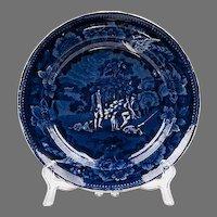 Dark Blue Staffordshire Transferware Plate, 1830, Hunting Series