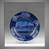Historical Dark Blue Staffordshire Clews Plate, Landing of General Lafayette