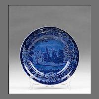 Dark Blue Staffordshire Transferware Plate, Foliage Border Series, Wistow Hall