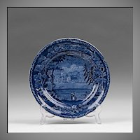Enoch Wood & Sons Dark Blue Transferware Plate, French Series