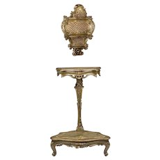 Early 19th Century Venetian Trespoli Candelabrum Stand With Wall Shelf