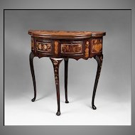 18th C. Dutch Marquetry Demilune Game Table With Two Drawers